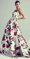 Mac Duggal Rose Print Strapless Evening Dress