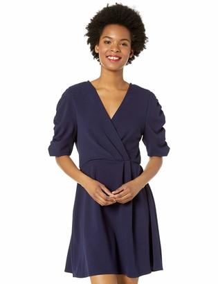 Speechless Women's Short Sleeve Faux Wrap Dress