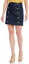 MICHAEL Michael Kors Button Detail Denim Mini Skirt