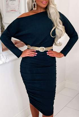 Pink Boutique Be Our Guest Stretchy Teal Ruched Long Sleeve Midi Dress
