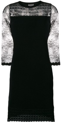 Boutique Moschino Lace Insert Knit Cocktail Dress