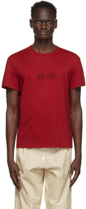 Maison Margiela Red Embroidered Logo T-Shirt