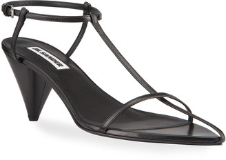 Jil Sander Leather Cone-Heel Thong Sandals