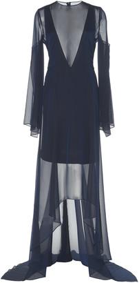 Akris Semi-Sheer Silk Maxi Dress