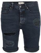 Topman Navy Wash Ripped Denim Stretch Skinny Shorts