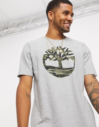 Timberland Camo Tree print t-shirt in grey