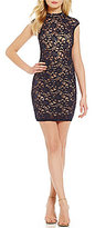 B. Darlin Mock Neck Illusion Waist Sequin Lace Sheath Dress