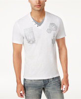 INC International Concepts Men's Layered Split-Neck Graphic T-Shirt, Created for Macy's
