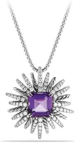 David Yurman 30mm Starburst Diamond & Amethyst Pendant Necklace