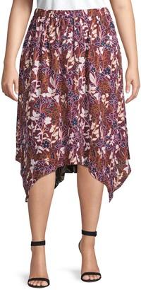 Rachel Roy Plus Handkerchief-Hem Floral Skirt