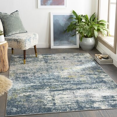 17 Stories Beaudry Abstract Navy Gray Area Rug Rug Size Rectangle 5 3 X 7 3 Shopstyle