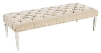 """Aidan Gray Reese Upholstered Bench Upholstery/Nailhead Detail: Washed Textured Linen/Rustic, Size: 17.7"""" H x 24"""" W x 60"""" D"""