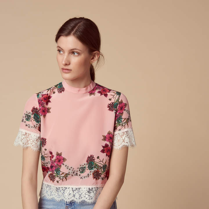 Sandro Patterned silk top