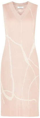 Paisie V-Neck Sleeveless Dress With Marble Print In Blush & Cream
