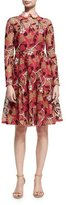 Valentino Lotus Guipure Lace Long-Sleeve Dress, Pink
