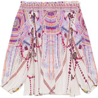 Camilla Off-the-shoulder Embellished Printed Silk Crepe De Chine Top