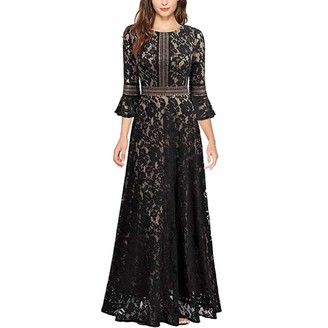 IMEKIS Women Vintage Lace Dress Elegant Cocktail Evening Party Gown A Line 3/4 Sleeve Flare Swing Dress Wedding Bridesmaid Formal Long Prom Ball Gown Black S