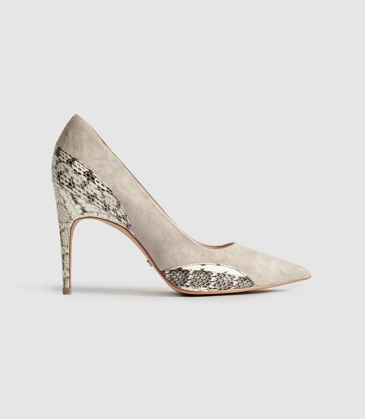 8684119e8fd Mia - Snake Detailed Suede Court Shoes in Natural