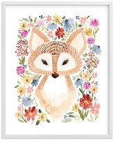 Pottery Barn Kids Sweet Floral Fox Wall Art by Minted® 8x10, White