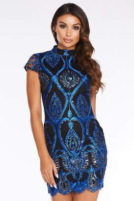 Quiz Royal Blue Sequin Embroidered High Neck Bodycon Dress