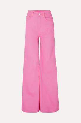 SOLACE London Nora High-rise Wide-leg Jeans - Bright pink