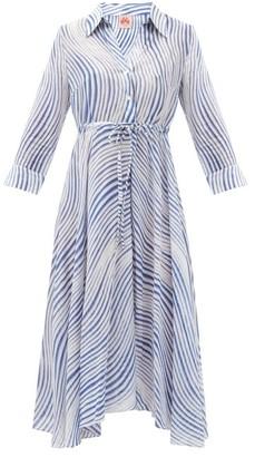 Le Sirenuse Positano Le Sirenuse, Positano - Lucy Wind-print Cotton Midi Shirt Dress - Blue Print