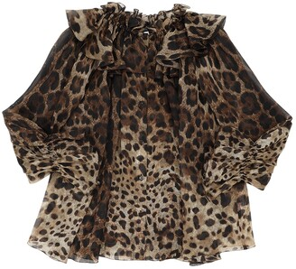 Dolce & Gabbana Leopard Print Silk Organza Shirt