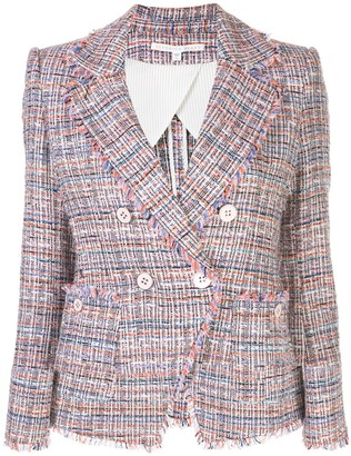 Veronica Beard Theron tweed frayed edge jacket