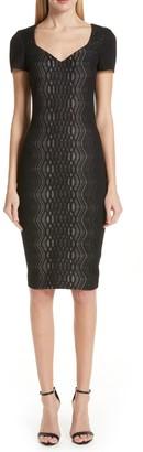 St. John Illusion Jacquard Sweetheart Knit Sheath Dress