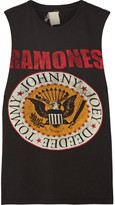 MadeWorn Ramones Distressed Printed Cotton-jersey Tank