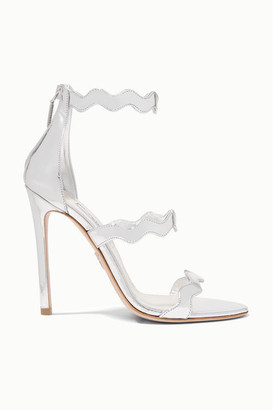 Prada 115 Scalloped Metallic Leather Sandals - Silver