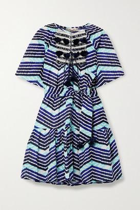 Figue Bria Tasseled Printed Cotton-voile Mini Dress - Indigo