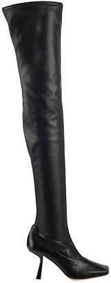 Jimmy Choo Mire Square-Toe Thigh-High Leather Boots