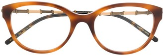 Gucci Two-Tone Arm Round Glasses