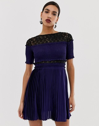 Three floor Pleated Mini Dress With Lace Inserts-Navy