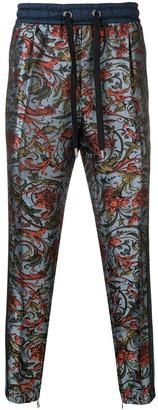 Dolce & Gabbana Floral Print Side Stripe Trousers