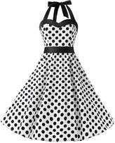 Dresstells® Halter 1950s Vintage Audrey Dress Polka Dots Retro Cocktail Dress Red Black 3XL