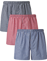John Lewis Esher Stripe Woven Cotton Boxers, Pack of 3, Blue/Red