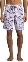 Vilebrequin Okoa Shark-Print Swim Trunks, Pink
