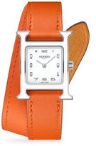 Heure H Lacquer, Stainless Steel & Leather Double-Wrap Watch/Orange