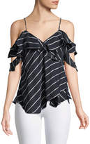 KENDALL + KYLIE Pinstripe Cold-Shoulder Ruffle Wrap Cami