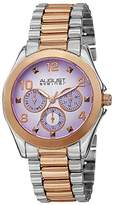 August Steiner Women's AS8150TTR Rose Gold & Silver Multifunction Quartz Watch with Pink Dial and Rose Gold Bracelet