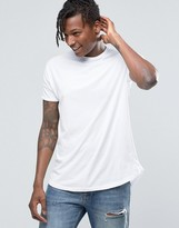 Pull&Bear Longline T-Shirt In White With Curved Hem