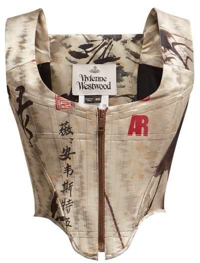 Vivienne Westwood Chinese Peony Print Jacquard Cage Corset - Womens - Grey Multi