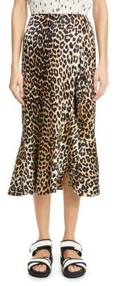 Ganni Leopard Print Ruffle Stretch Silk Skirt