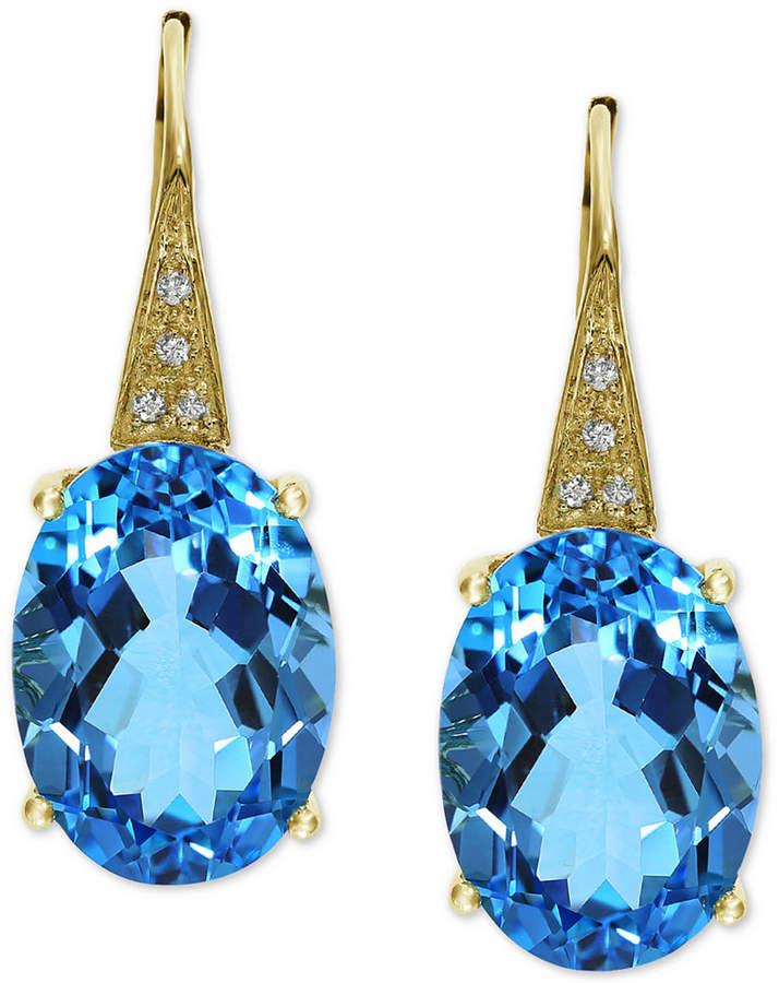 Effy Blue Topaz (13-3/4 ct. t.w.) & Diamond Accent Drop Earrings in 14k Gold