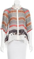 Chris Benz Striped Print Silk Top