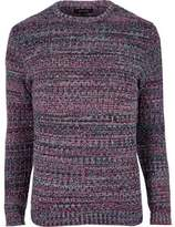 River Island Pink Ribbed Knit Slim Fit Jumper