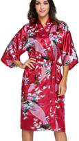 FLYCHEN Women's Satin Dressing Gowns Peacock and Blossoms Kimono Robes US 6-8 M