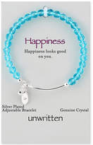 Unwritten Crystal Bead Adjustable Bangle Bracelet in Silver-Plate